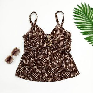 Coco Reef Swimsuit Top V-Neck Brown Black Tan Gold